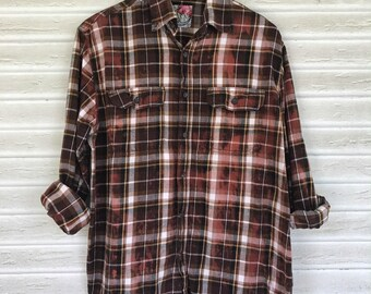 MEDIUM - Flannel Shirt - Bleached - Vintage Washed Flannel - Oversized Flannel - Distressed Flannel - Plaid Shirt - Fall Shirt - #29-BM