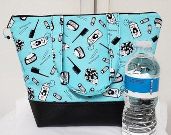 Lunch Bag for Stylist, Vinyl Bottom, Insulated Lunch Bag, Womens Lunch Bag, Retro Salon, Washable Bag, Nylon Lining, Inner Zipper Pocket.