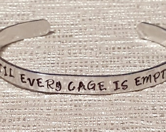 until every cage is empty bracelet | vegan | animal rescue charity | hand stamped | vegetarian | animal lover | adopt | protest | gift