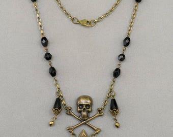 PIRATE skull & crossbone NECKLACE, fleur-de-lis, black glass, goth
