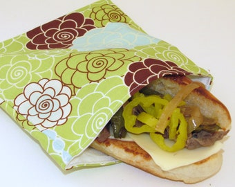 Reusable Sandwich Bag - Green Blossoms