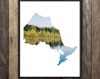 Ontario Map, Ontario Landscape Art Print, Toronto Poster, Muskoka Cottage Country Decor, Lake House Sign, New Homeowner, Canada Shops