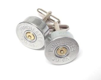 Shotgun Bullet Winchester Cufflinks 20 Gauge Nickel Shotgun Cufflinks - Silver Tone  WIN-20-NNB-CL