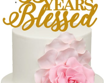 35 Years Blessed 35th Wedding Anniversary Acrylic Cake Topper