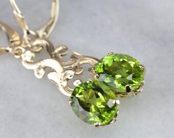 Scrolling Bright Green Peridot Drop Earrings CX4YTV-D