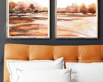 Set of Two Prints, Set of 2 Print Watercolor Painting, Fall Print, Fall Colors Watercolor, Brown Wall Art Set 2 Print Set, Vertical Painting
