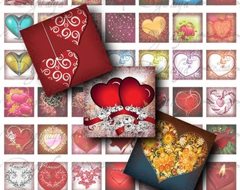 SIMPLY HEARTS for Valentine's Day - 2 Digital Collage Sheet - 112 Squares 1x1 or smaller available - Buy 3 Get 1 Extra Free