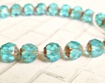 25 Czech Aqua Cathedral 6mm Glass Beads (2-58-25)