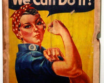 Vintage Poster - We Can Do It!  #Recycledwood