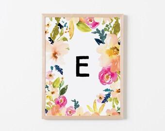 Portadown Floral E Nursery Art. Nursery Wall Art. Nursery Print. Nursery Decor. Personalized Wall Art. Monogram Art. Floral Letter Wall Art.