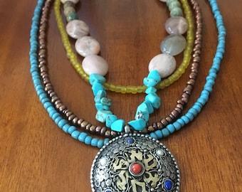 Tibetan pendant etsy tibetan pendant necklace aloadofball Images