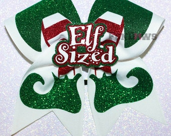 Awesome Elf Sized Christmas Cheer Bow with 3-D cutout by FunBows !