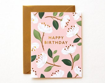 Magnolia Birthday Card - Blush