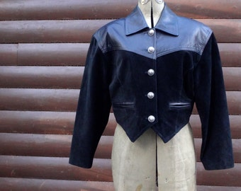 vintage cowgirl, black leather and suede, cropped jacket, women's size xs
