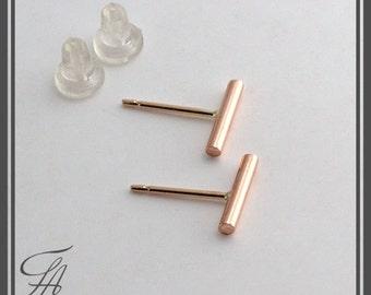 Rose Gold Bar Earrings, Tiny Bar Studs, Gold Studs Handmade Studs, Bar Studs, Gold Stick, Everyday Earrings, Line Earrings, 9 x 1.5mm