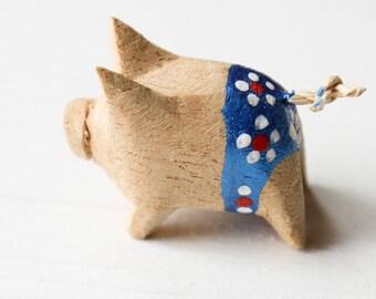 Handmade Colour Cute Little Wooden Pig Metallic Blue Shorts Pigs Farm Animal Gift