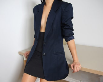 vintage navy wool blend blazer, single breasted, size small - medium