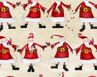 Santa fabric, folk art Christmas fabric, Around Town by Studio E   Free Domestic Ship over 50