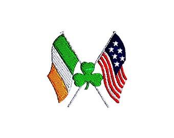 Irish American Flags Embroidery Design.  St. Patrick's Day Shamrock Pattern