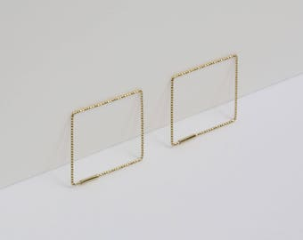 Gold Square Hoop Earrings, Unique Earrings, Modern Jewelry, Minimalist Jewelry, Silver Earrings, Minimalist Earrings, Simple Earrings, Gift