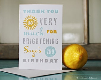 You Are My Sunshine Party Printable Thank You Note