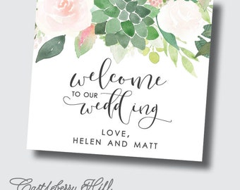 Blush and succulent wedding stickers, blush and succulent florals, welcome bag labels, welcome bags for wedding guests, destination wedding