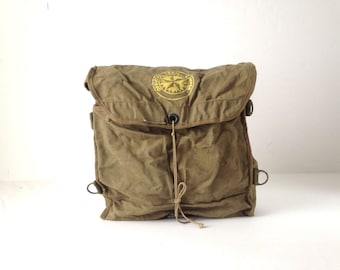 60s RUCKSACK olive green faded BACKPACK army camo vintage backpack