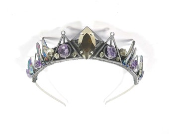 Silver Morticia Crown with Raw Amethyst, Pyrite and Abalone - by Loschy Designs
