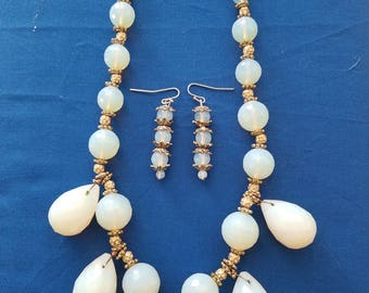 Opal colored glass bead necklace and earring set handcrafted using repurposed vintage and modern updated pieces