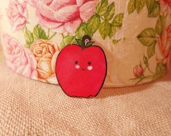 Kawaii Apple Pin, Fruit pin, Vegan Pin, Cute Apple Pin, Cute Fruit Pin, Red Apple Pin, Adorable Apple, Kawaii Fruit, Adorable Pin,Small Pin