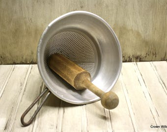 Vintage Wear-Ever Strainer and Pestle - Kitchen Decor - Cone Shaped Aluminum Strainer - No. 8 - Made in USA