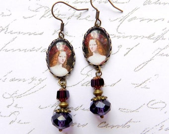 Victorian style earrings, Garnet color, so cameo glass cabochon