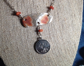 """Red Abalone Pendant with """"Tree-ofLife"""" charm"""