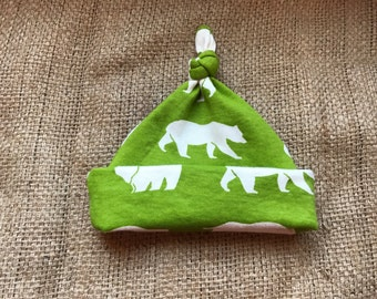 Kodiak Organic Cotton Bear Hat, Rustic, Beanie, Knot, Boys, Green, Nature, Wildlife, Neutral, Newborn, Gift, Infant