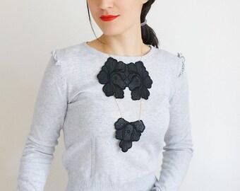 NECKLACE // Silo // Handmade Necklace Black Floral Faux Leather Lace Necklace Applique Golden Yellow Chain Blouse Accessories