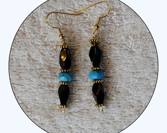 Earrings, Jewelry, Drop Earrings, Beaded Earrings, Agate Earrings, Aqua Earrings, black , blue and gold earrings, dangle, Item # ERBBB0115