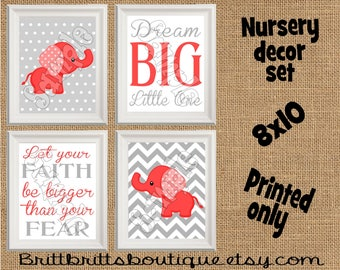 red elephant nursery wall art safari nursery wall decor Baby boy nursery decorations Nursery Decor red Kids Wall Art Nursery artwork prints
