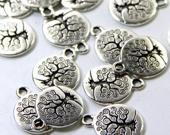 TierraCast Tree Of Life Charms, 15mm Round, Double Sided Charms, Tree Charms, Fine Silver Plated Lead Free Pewter, 4 or More Pieces, 0312
