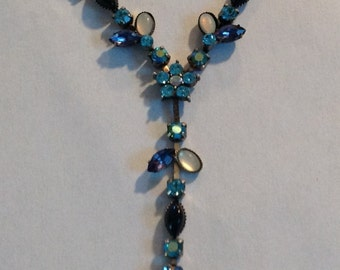 Vintage A/B  Crystal Flower Drop Necklace