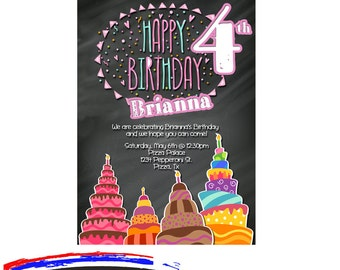 Girls Birthday Party Invitation, 4th Birthday Party Invitation, Bright Colored Chalkboard  Birthday, Printable Digital