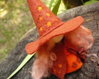 Orange Wool Felt Witch, Peg Doll Witch, Waldorf Inspired, One of a Kind, Minature Witch