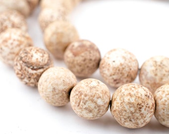38 Sandstone Agate Round Stone Beads - Tibetan Agate Beads - Natural Agate Beads - Round Agate Beads - Earth Tone Beads (TAG-RND-BRN-128)