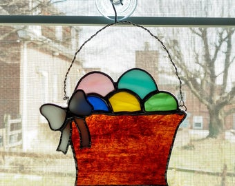 Stained Glass Easter Basket Suncatcher - Easter Decoration - Easter Egg - Easter Suncatcher - Easter Gift - Easter Ornament - Spring Decor