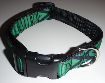 Tiki Green on Black Polypropylene Dog Collar