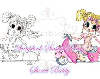 DESCARGA instantánea Digital Digi sellos grandes ojos Scooter niña Besties cabeza grande muñecas Digi por Sherri Baldy