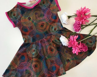Toddler dress, rainbow dress, party dress, special dress, occasion dress, cool dress, all in one jersey dress,  colourful dress, rainbow