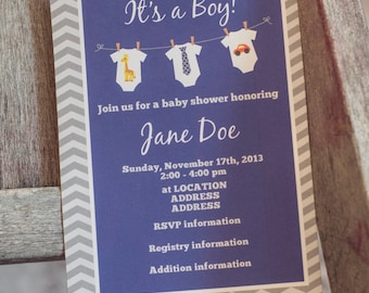 Baby Shower Invitation, Onesies