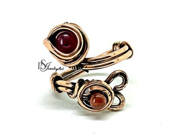 wire wave ring, garnet ring, wire wrapped, boho ring, valentine gifts, gift for her, birthday, copper wire jewelry, handmade ring