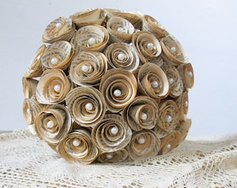 Wedding bouquet,  36 paper roses, book flowers, upcycled paper decoration, paper flowers, alternative bouquet