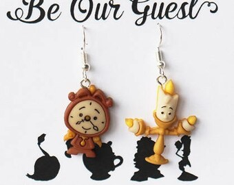 Disney Beauty and the Beast earrings |Disney jewelry Cogsworth and Lumiere | Disney jewellery | Disney earrings | Disney Christmas Gift
